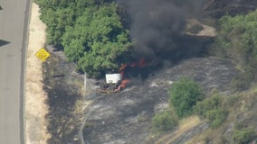 Crews battling brush fire in Santa Clarita