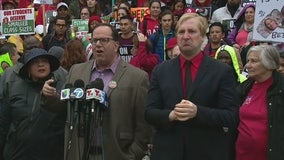 Union leaders hold press conference as LA teachers strike enters 3rd day