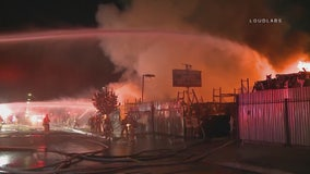 Flames burn through Sun Valley auto yard