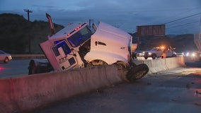 Jackknifed semi-crash slows traffic on 14 Freeway in Santa Clarita