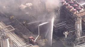 Crews battling refinery fire in Carson area