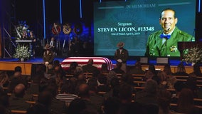 Funeral services for fallen CHP Sgt. Steve Licon in Riverside
