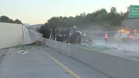 Overturned big rig shuts down 57 Freeway near Brea