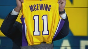 Tony McEwing presented with LA Lakers jersey