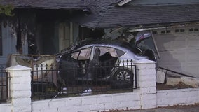 Power lines down after fiery car crash into Covina home