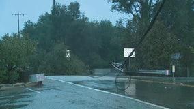 Fallen tree knocks down power lines in Ojai
