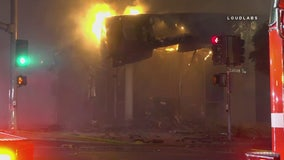 Vehicle crashes into Torrance bank, ignites three-alarm fire
