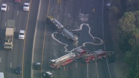 Diesel tanker overturns on 5 Freeway in Atwater Village