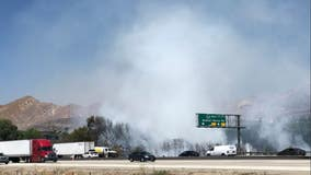 Brush fire in Valencia causes three lanes to be closed on NB 5 Freeway