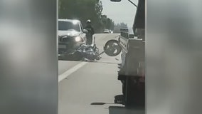 SUV caught on video intentionally running over motorcycle nearly hitting owner in Lake Elsinore