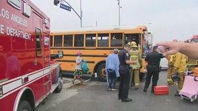 Ten injured in Inglewood multi-vehicle crash involving school bus