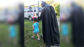 'Amazing': Batman walks bullied 3-year-old to preschool in Florida