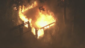 Firefighters protect homes after fire breaks out in Beverly Crest