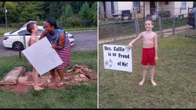 Teacher puts congratulatory yard sign in front of student's home after he aces reading test