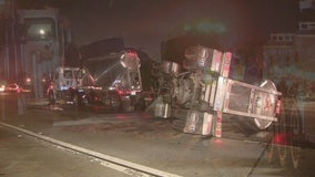 Lanes reopen on 605 Freeway following crash involving semi, fuel spill