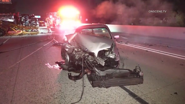 Overturned big rig prompts closure of 605 Freeway in Long Beach