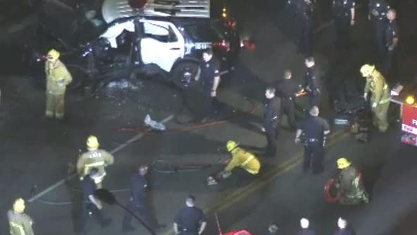 Two officers injured in South LA rollover crash