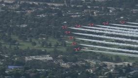 Royal Air Force aerobatic team flies over Los Angeles