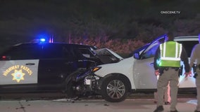 Speeding driver slams into CHP car during  investigation of wrong way accident