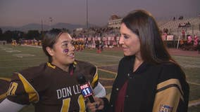 Female football player remembers her late mom