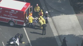 CHP motor officer injured in crash during vehicle chase in Northridge area