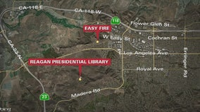 Firefighters battling Easy Fire near Reagan Library