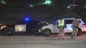 Caught on camera: Speeding driver slams into CHP cruiser during wrong-way-driver investigation