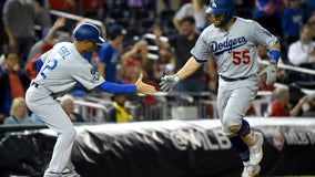 Dodgers to try to end division series against Washington Nationals Monday night