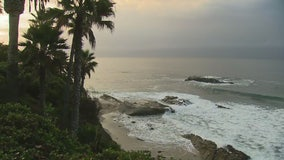 Storm showers linger in Laguna Beach