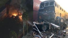Fire ignites after Metrolink train strikes motorhome on its tracks in Santa Fe Springs