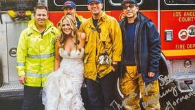 LA County firefighters give special escort to bride stuck in traffic jam