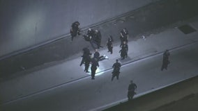 Pursuit ends with suspects ditching car in middle of the 110 Freeway in South LA