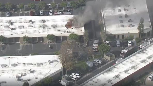 Fire erupts at commercial building in Garden Grove