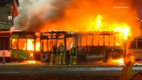 Fire at LAX-it lot destroys two buses, damages third