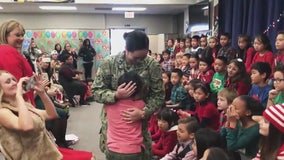 Elementary school student surprised by sweet military homecoming