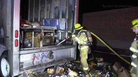 Several holiday packages burn after FedEx truck catches fire in Fullerton