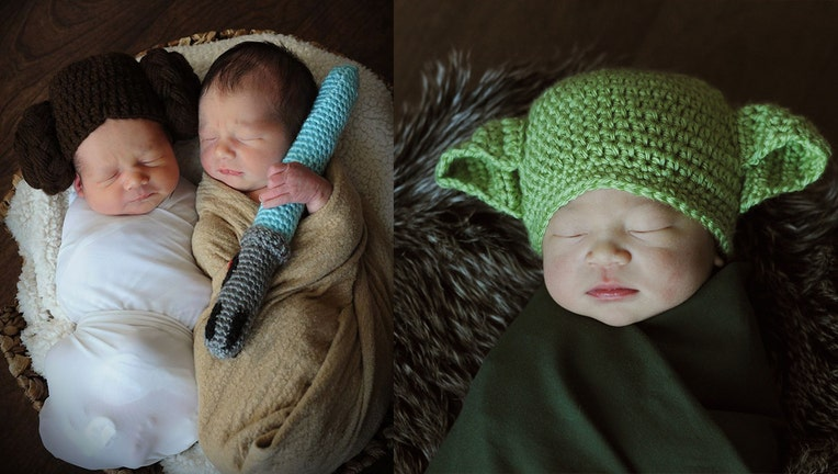 AdventHealth for Women dressed up their newborns as Star Wars characters.