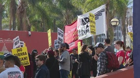 Demonstrators rally, march in LA calling for US pullout in Middle East
