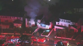 Sky FOX over house fire in View Park