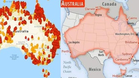 Maps show Australia's massive wildfires compared to size of United States