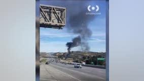 One dead after plane crashes along 14 Freeway in Santa Clarita