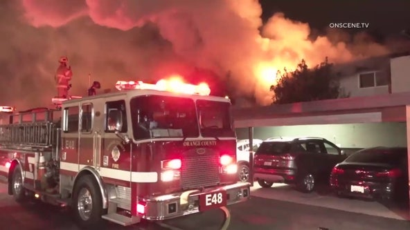 Two hurt, dozens displaced following 3-alarm apartment complex fire in Seal Beach
