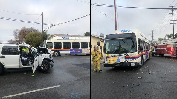 5 transported to hospital following crash involving OC public transit bus