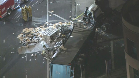 Crash on 110 involving big rig sends man to hospital with critical injuries