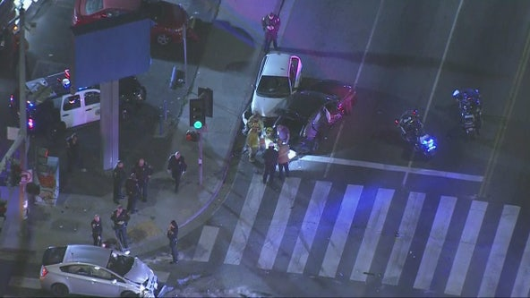 Pursuit ends in violent crash in Long Beach