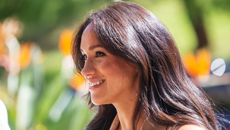 Meghan Markle, the Duchess of Sussex arrives at the University of Johannesburg, South Africa, on October 01, 2019. - Meghan Markle, the Duchess of Sussex, is meeting academics and students to discuss the challenges faced by young women in accessing higher education. (Photo by Michele Spatari / AFP) (Photo by MICHELE SPATARI/AFP via Getty Images)