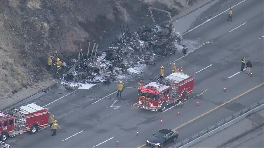Big rig fire shuts down 5 Freeway in Castaic