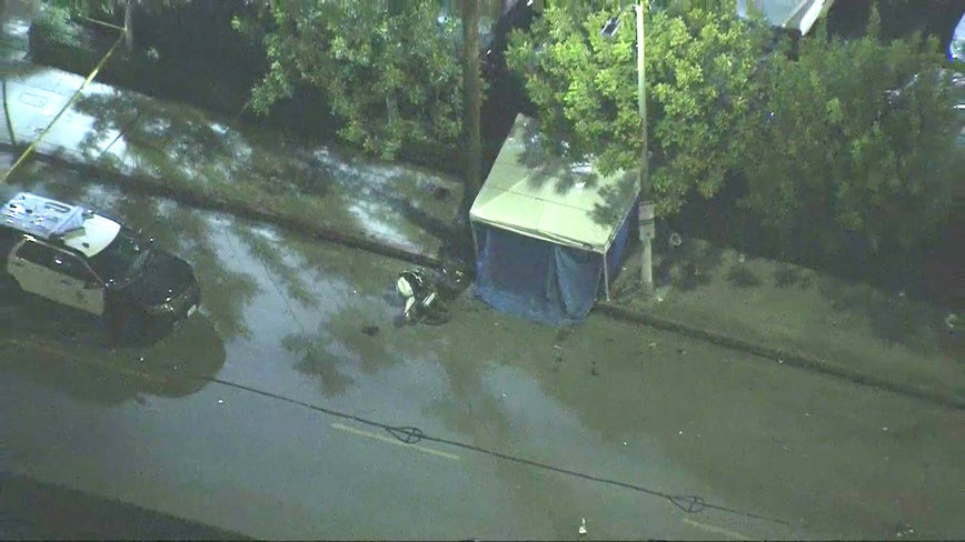 1 dead after motorcycle pursuit ends in crash in South LA