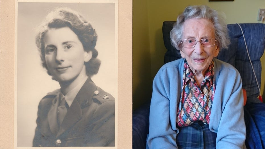 Anne Robson is pictured during her Army career, alongside an image of her from recent years. (Photo credit: Provided / Women's Royal Army Corps Association)
