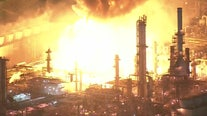 Massive fire at oil refinery in Carson contained after explosion